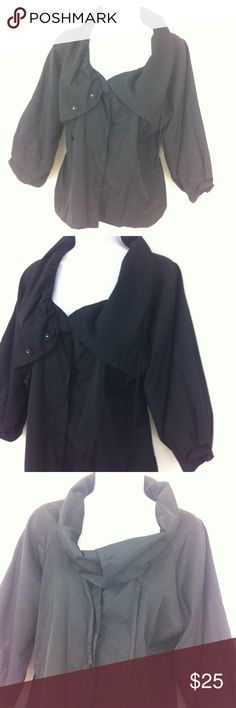 """Jet black jacket by Spense Jet black in color, ( I lighten some to show detail but much like #2), big wide collar to leave open or snap up ( drawstring as well) 3/4 length oversized sleeves. Snap front and faux belt in back. Tag size large. This is a great fabric of 51% cotton and 59% nylon. The lining is 100% acetate. Bust 42"""" and length ( shorter style ) 21"""". Spense Jackets & Coats"""