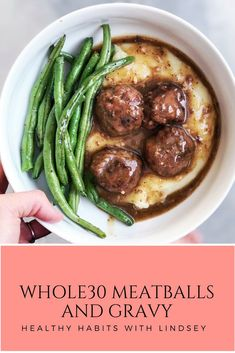 Whole30 Meatballs and Gravy just like my mom used to make, but without all the junk! Quick, easy and delicious!