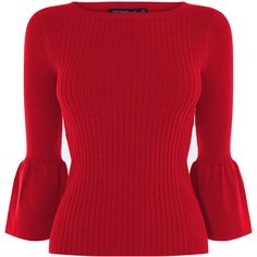 FLUTED SLEEVE KNITTED JUMPER ($145) ❤ liked on Polyvore featuring tops, sweaters, sleeve top, red top, sleeve sweater, jumper top and jumpers sweaters