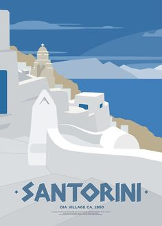 Vintage Illustrations Oia village in Santorini (GR) Poster - Poster. Additional sizes are available. A vintage style illustration of Oia village in Santorini (Greece) as it was in the Poster Retro, Art Deco Posters, Vintage Travel Posters, Poster Prints, Poster Poster, Santorini Travel, Crete Greece, Athens Greece, Vintage Travel