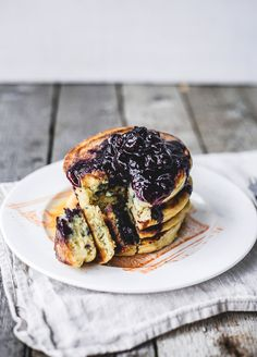 blueberry buttermilk pancakes with blueberry compOte & maple butter