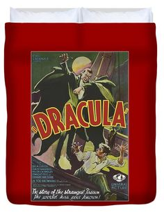 Vintage Dracula Movie Poster Duvet Cover, by Joy McKenzie (restored image), in several sizes with matching throw pillow, on Pixels.com #horror #movie #dracula #interiordesign