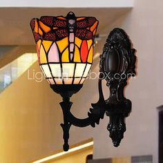 5 Inch Dragonfly Deisgn Tiffany Wall Lamp - USD $119.99