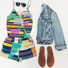 Turn heads with this White Crow denim jacket, #EightSixty romper and sweet Lucky Brand flip flops. #ShopGeezLouise