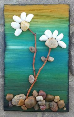 Pebble Art Flowers (Two pretty white flowers) set on reclaimed painted wood, Approx 15x15 (FREE SHIPPING) US$50.00