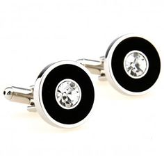 Diamond Intrigue Cufflinks - Black cufflinks with a diamond to add elegance during your wedding or formal events.