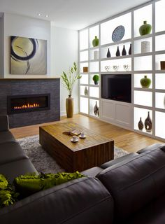 I like the back lit storage wall. A PERFECT idea for a dark basement. Modern Basement, Basement Ideas, Dark Basement, Home Living Room, Living Area, Loft Kitchen, Basement Kitchen, Inspired Homes, Shelves Lighting