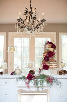 This is a beautiful jewel Toned Autumn Woodland Wedding. When planning a fall themed wedding, you can take many different approaches. A woodsy, almost winter feel can be a fall showstopper. Wedding Cake Display, Wedding Cake Rustic, Fall Wedding Cakes, Woodland Wedding, Wedding Reception Decorations, Rustic Cake, Burgundy Wedding Cake, Red Wedding, Wedding Shoot