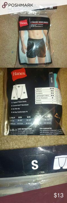 4 Tagless Boxer Briefs Men Small NEVER OPENED Never worn! Go get them! Hanes Underwear & Socks Briefs