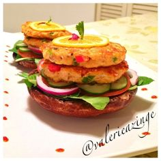 Ripped Recipes - Sesame Salmon Burgers On a Grilled Portobello ...