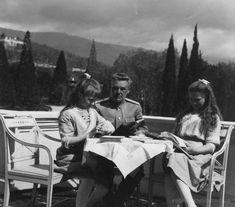 "Grand Duchesses Anastasia and Maria Nikolaevna Romanova of Russia with their Rusdian teacher,Pyotr Vasilievich Petrov. ""AL"""