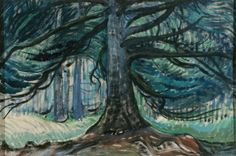 """Dancing Tree,"" Emily Carr, oil on paper, Art Gallery of Greater Victoria. Canadian Painters, Canadian Artists, Emily Carr Paintings, Group Of Seven Paintings, Tom Thomson, Witch Art, Tree Art, Artist Art, Female Art"