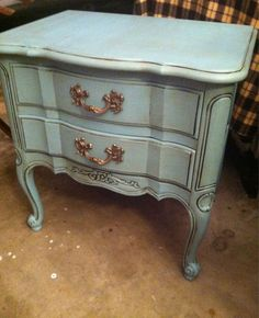 """2 Drawer Nightstand - Thomasville 1966 - Re-finished in Annie Sloan Chalk Paint """"Provence"""" and waxes. Matching dresser and mirror are being finished now - All pieces are for sale now!!!! - ASCP"""