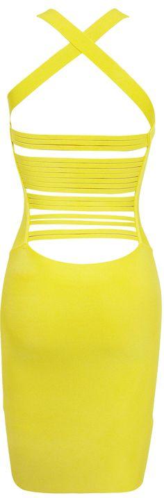 Kendall jenner's yellow cutout body con dress