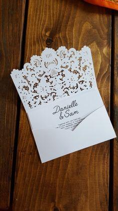 White On White Lace Bespoke Wedding Invitations