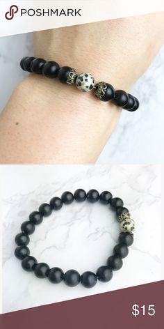 Matte Onyx + Dalmatian Spot layering bracelet Gorgeous layering bracelet made from Onyx Beads with a Dalmatian Spot accent. From a line of jewelry called Lumina Jewels Brie + Coco Jewelry Bracelets