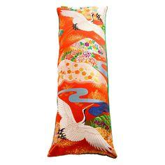 Rare Vintage Silk Kimono Cushion Upcycled Uchikake Designer Bolster with Green Velvet - Upcycled Vintage Cushions by Hunted and Stuffed Big Cushions, Luxury Cushions, Bolster Cushions, Vintage Cushions, Green Cushions, Floor Cushions, Designer Cushions, Japanese Quilts, Japanese Fabric