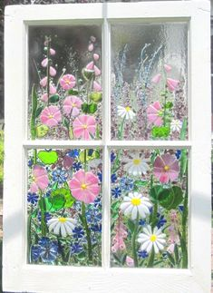 One of a kind, Flower garden window, Repurposed Window Frame with NE . Glass Wall Art, Fused Glass Art, Stained Glass Art, Mosaic Glass, Mosaic Windows, Painted Glass Windows, Wine Bottle Wall, Glass Fusing Projects, Crushed Glass