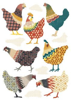 Seven Chickens Illustration Chicken Crafts, Chicken Art, Chicken Drawing, Chicken Houses, Chicken Quilt, Motifs Animal, Chickens And Roosters, Fabric Art, Bird Fabric