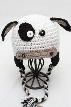 Animal Hat Beanie - Crochet - Moooo -- Cow Earflap Beanie - Animal Hat on Etsy, $23.00