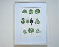Treescape -Trees of Life - Linocut  Print - Love Bird of Peace Gift  -  Soft Green Art, Original Print, Hand Painted Details. £28.00, via Etsy.