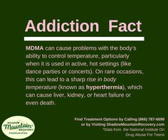 MDMA can cause problems with the body's ability to control temperature, particularly when it is used in active, hot settings (like dance parties or concerts). #AddictionFact ○○○ #Addiction #Recovery #AddictionRecovery #ShadowMountainRecovery #rehabilitation #detoxification #detox #rehab #Cascade #ColoradoSprings #Denver #Colorado #Albuquerque #Taos #NewMexico #StGeorge #Utah #RecoveryIsPossible #RecoveryIsWorthIt #WeDoRecover #12Steps #12Step #Sober #Sobriety #Truth #Fact #Molly #Ecstasy