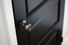 Black door love -- benjamin moore paint = doors - onyx, trim - cloud white, walls: silver satin by Maryse ~~~