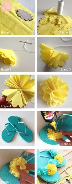 DIY 21 : Tongs fleuries - I do it myself Shoe Crafts, Diy Craft Projects, Tongs Crochet, Crochet Flip Flops, Decorating Flip Flops, Creative Shoes, Flip Flop Slippers, Shoe Pattern, Crochet Slippers