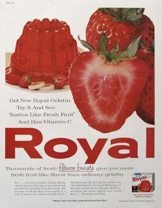 1960 Strawberry Royal Gelatin ad from #RetroReveries