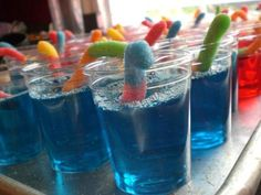 Sour Worm Jello Shooters