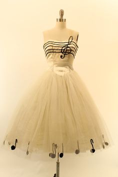 50s Tulle Dress XXS / 1950s Sequin Music Dress / by CrushVintage