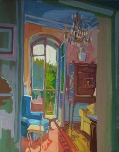 Lachlan Goudie | Le Salon, Gouache On Board, 25x33cm | Detail