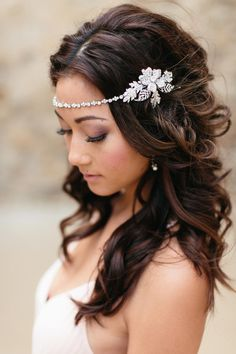 Wedding Hair Accessories Lovely wedding jewelry and accessories by Petals Wedding Headband, Bridal Hair Chain, Bride Headband, Silver Headband, Crystal Headband, Hair Accessories For Women, Wedding Hair Accessories, Wedding Jewelry, Wedding Hair And Makeup