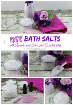 DIY Bath Salts with Lavendar and Tea Tree Essential Oils