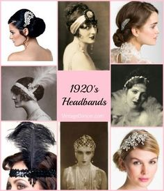 Flapper Headband, Gatsby Headpiece, Wigs A style headband or hair accessory is a must for a Downton Abbey look. Shop at vintagedancer. Flapper Headpiece, Flapper Headband, Flapper Costume, Wedding Headband, Flapper Hair, Hair Wedding, Flapper Style, 1920s Flapper, 1920s Style