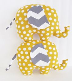 Yellow Polka Dot and Grey Chevron Stuffed Elephant Baby Toy Pillow, Nursery Pillow Decor