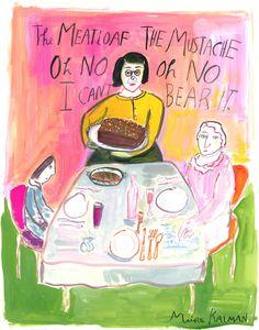 Maira Kalman (Israeli, b. 1949). We Ate Meat. 2013. Gouache on paper, 15.3 x 11.2″ (38.9 x 28.4cm). Image courtesy of the artist