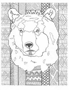 Adult Coloring Page Bear Printable Colouring Instant Download Aztec Zentang