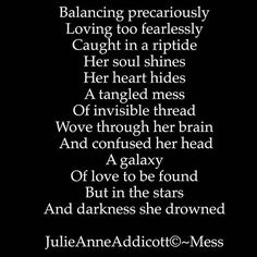 "30 Likes, 2 Comments - Julie Anne Addicott ~ Author (@demonsoulangelheart) on Instagram: ""#balance #author #poet #poetry #poem #writing #julieanneaddicott #darkpoetry #heart #drown #pain"""