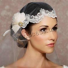 Organdí Velo de Novia, con Encaje & pluma & aleación de zinc, para novia & con diamantes de imitación