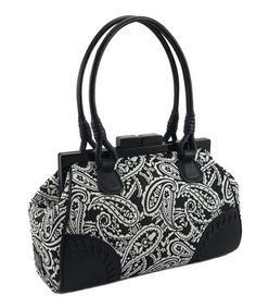 Take a look at this Black & White Paisley Satchel by KORET new york on #zulily today!