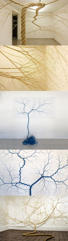 Untwisted Ropes Tacked to Gallery Walls Appear to Sprout like Trees  http://www.thisiscolossal.com/2015/06/rope-installations-mello-landini/