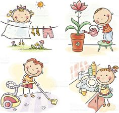 Kids and housework royalty-free stock vector art