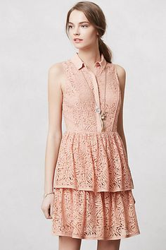 Rehearsal dinner dress at the ranch? Tiered Lace Shirtdress #anthropologie