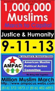 Million Muslim March Poster tap to read - if they are peaceful and proud to be in America.... why would they hold this march on September 11th?