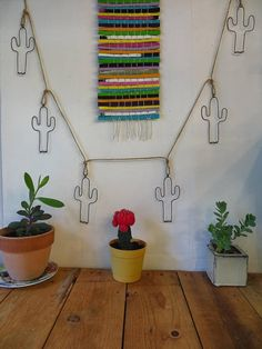 Wire Cactus Wall Hanging Garland - bitify
