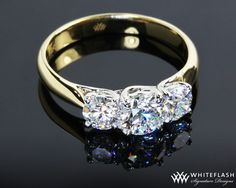 Yellow gold, three stone, round cut, trellis setting engagement ring I will always adore this style
