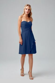 Strapless Crinkle Chiffon Dress with Front Cascade-F14847