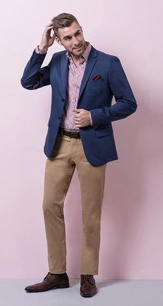 CASUAL YOUR WAY Royal blue cotton unlined blazer with printed red shirt and two ply red chinos will do daytime and any garden with ease. Using our soft tailoring construction, this CEO half lined stretch jacket in navy is made from 98% cotton and 2% elastane. It features four internal pockets and three external pockets, at two botton closure, a notch lapel collar and an overlapping four button cuff. It is cut to a slim fit and hangs soflty when worn.