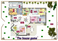 The House game Format A3, House Games, Vocabulary Games, My House, Preschool, Floor Plans, Prune, Attention, Voici